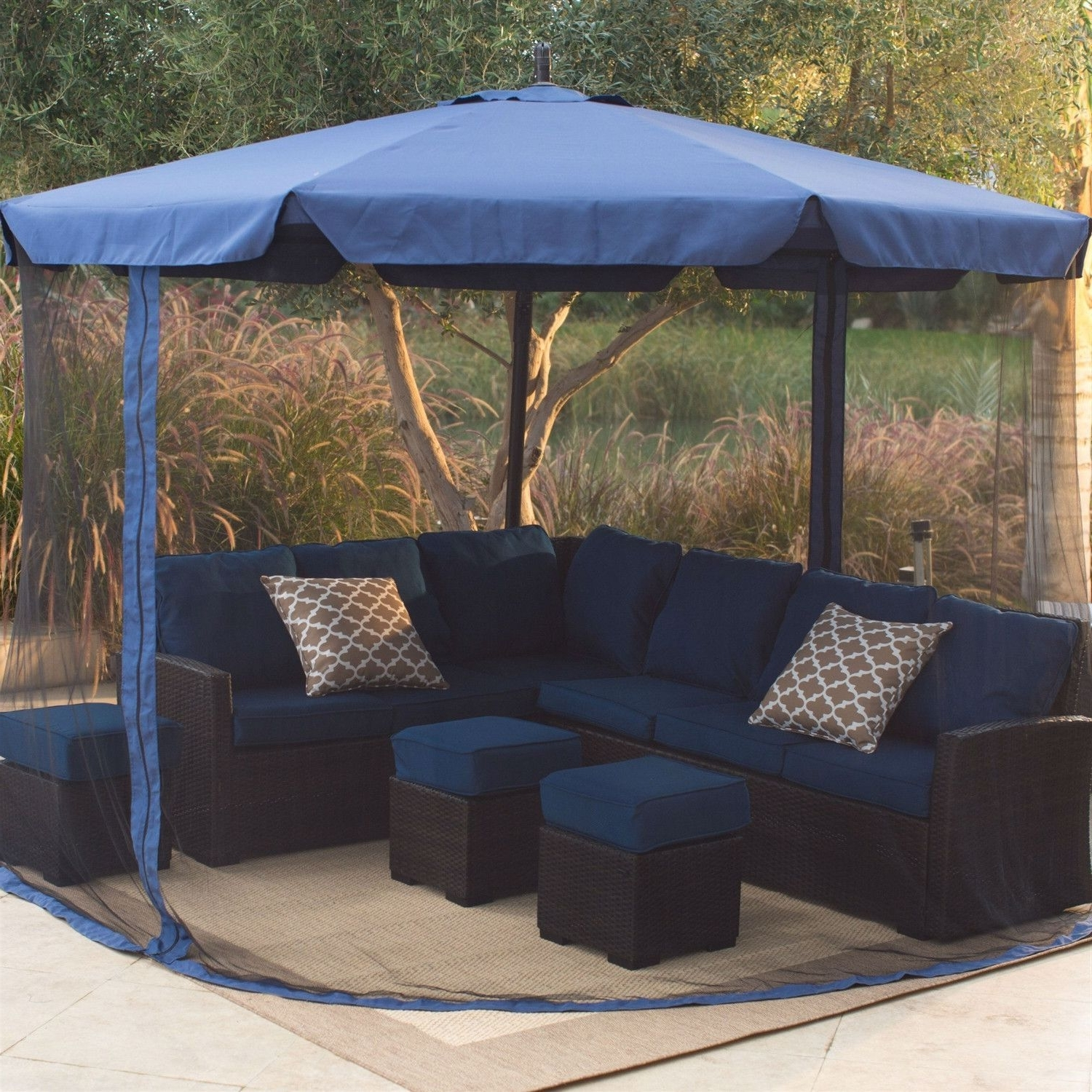 2019 11 Ft Cantilever Crank Lift Patio Umbrella In Blue With Removable In 11 Ft Patio Umbrellas (Gallery 11 of 20)