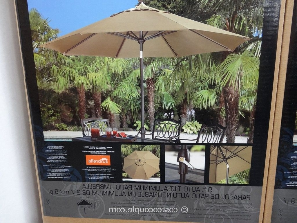 2019 9 Ft Auto Tilt Aluminum Patio Umbrella Regarding Sunbrella Patio Umbrellas At Costco (Gallery 1 of 20)