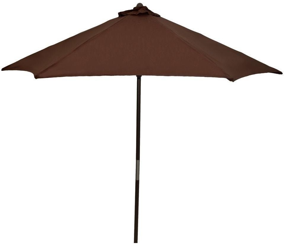 2019 Hampton Bay Patio Umbrellas Pertaining To Hampton Bay Wood Patio Umbrella In Brown 9 Ft. Outdoor Market Beach (Gallery 17 of 20)
