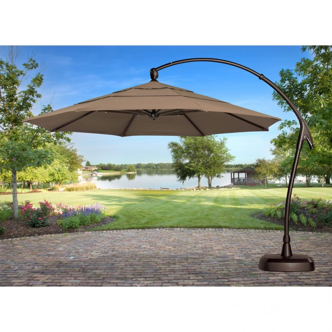 2019 Offset Patio Umbrellas With Base With Regard To Soulful Literary Patio Table Plus Chairseca S Concept Offset And (Gallery 6 of 20)