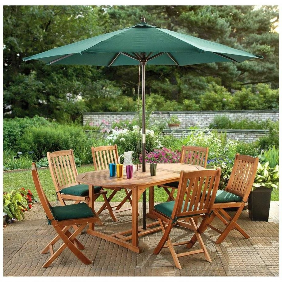 2019 Patio Dining Umbrellas Intended For Square Outdoor Dining Table New Patio Collection With Sets Umbrella (Gallery 6 of 20)