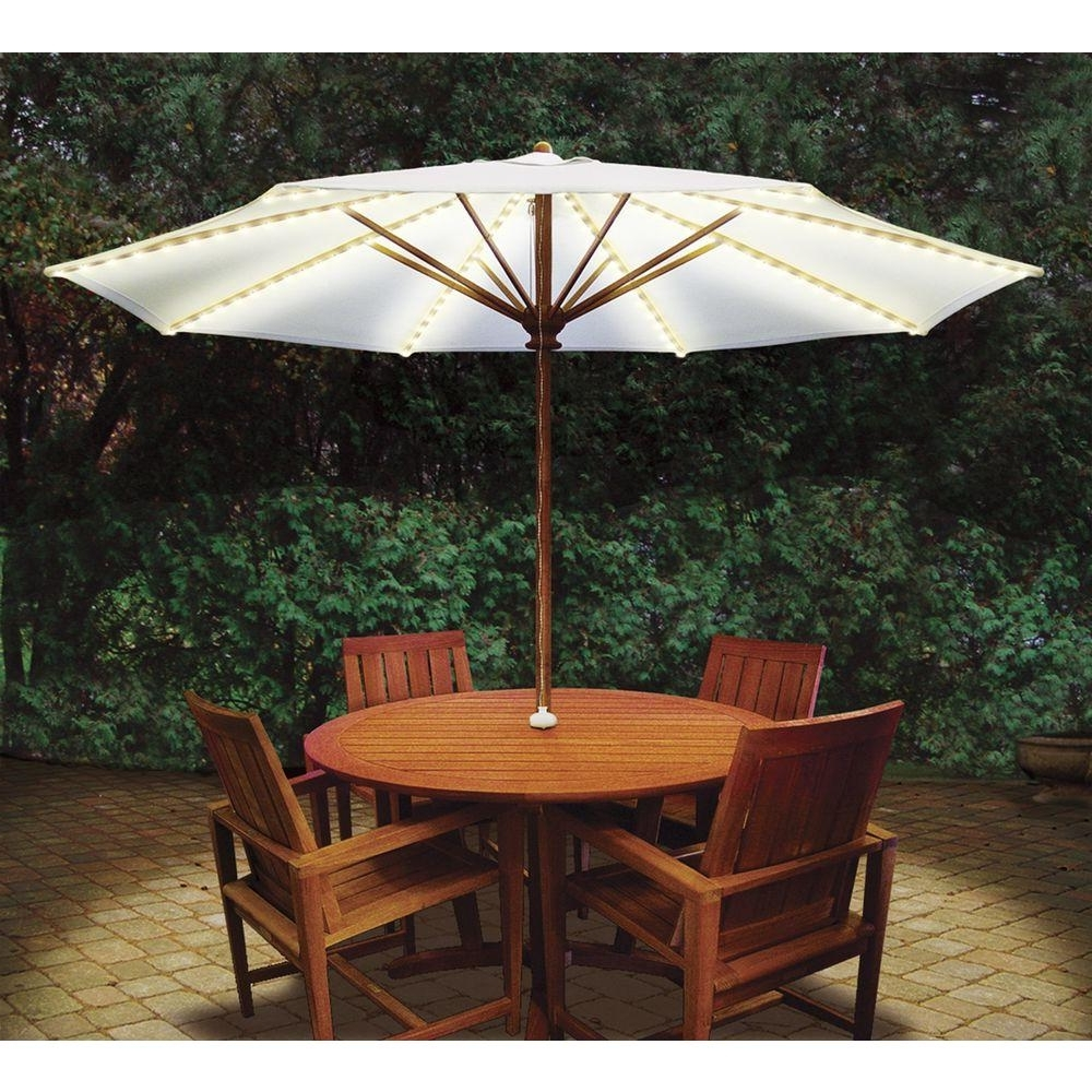 2019 Patio Umbrellas With Table Pertaining To Blue Star Group Brella Lights Patio Umbrella Lighting System With (View 1 of 20)