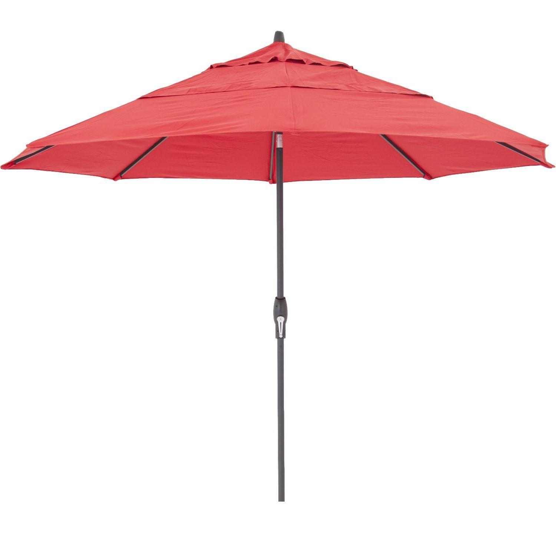 2019 Red Sunbrella Patio Umbrellas Pertaining To Treasure Garden 11 Ft. Octagonal Aluminum Auto Tilt Patio Umbrella W (Gallery 13 of 20)
