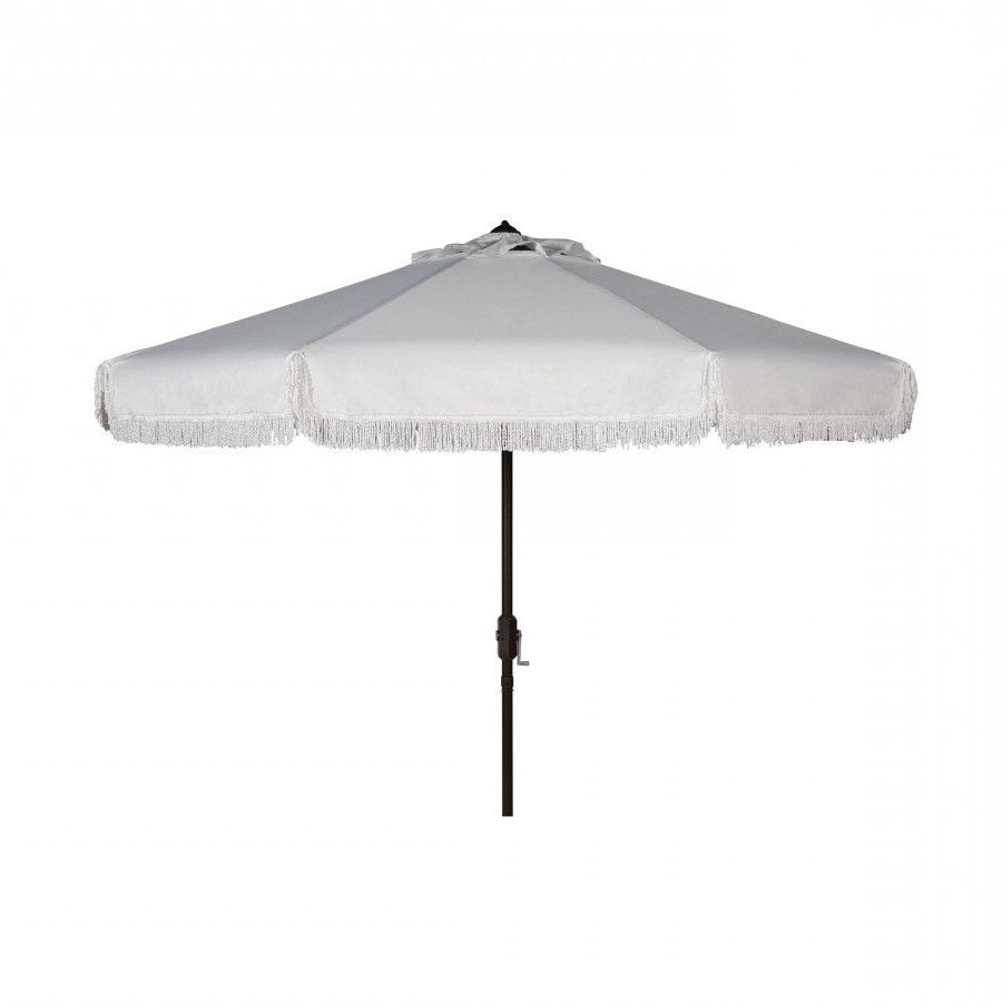 2019 Safavieh Milan Fringe 9Ft Crank Outdoor Auto Tilt Umbrella (View 7 of 20)