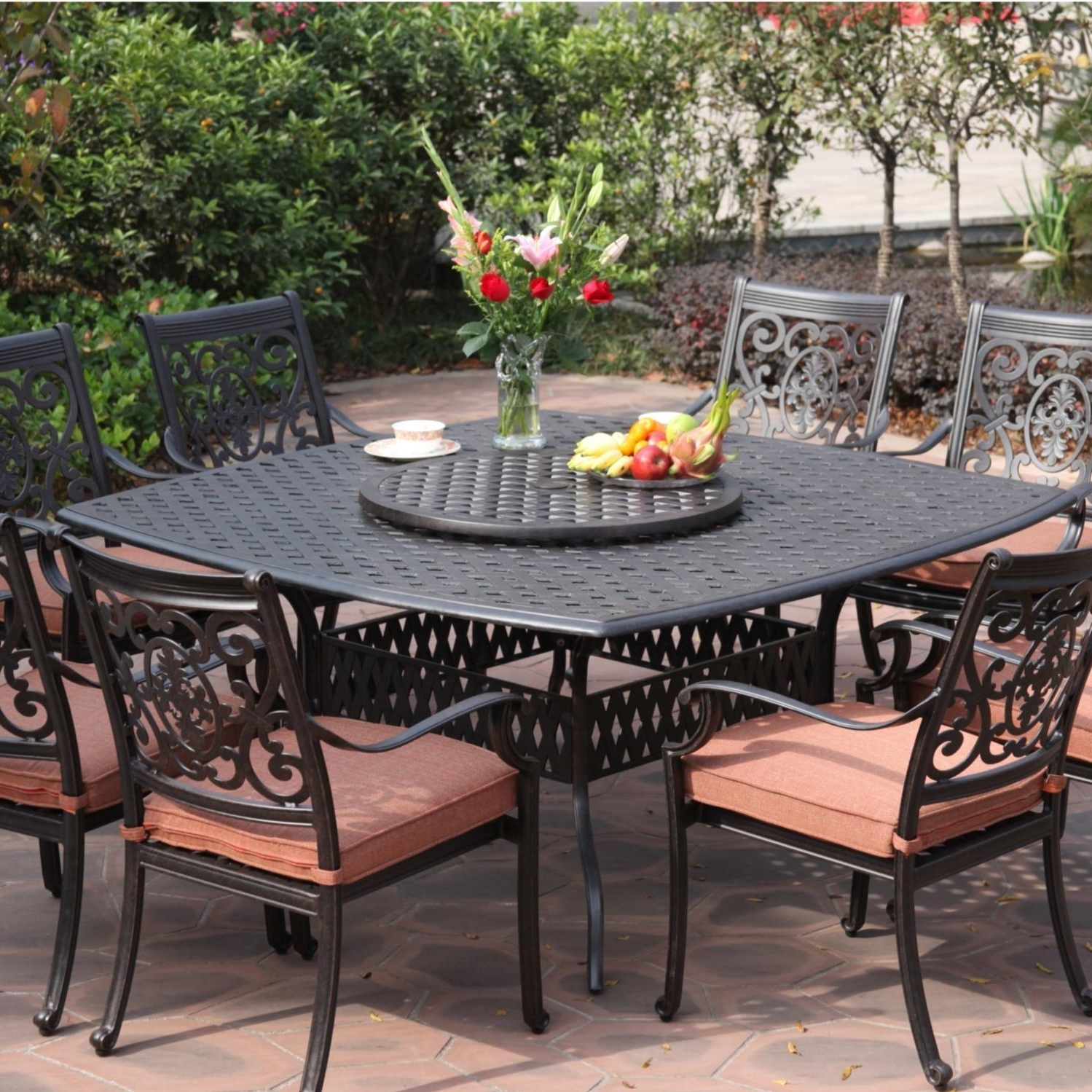 2019 Small Patio Furniture Rectangular Table With Umbrella Hole 72 Round For Small Patio Tables With Umbrellas Hole (View 1 of 20)