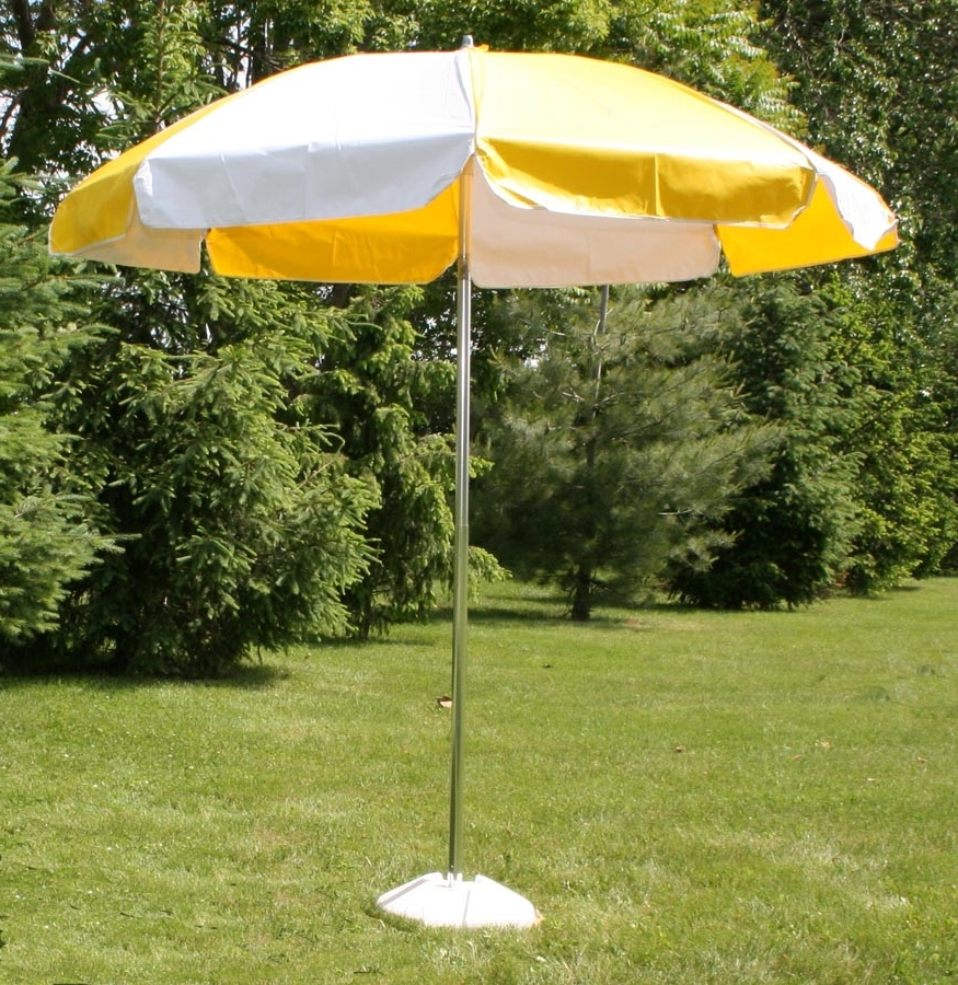 2019 Vinyl Patio Umbrellas With Regard To Vinyl Patio Umbrella, 7.5' W/tilt, Yellow & White (Gallery 1 of 20)