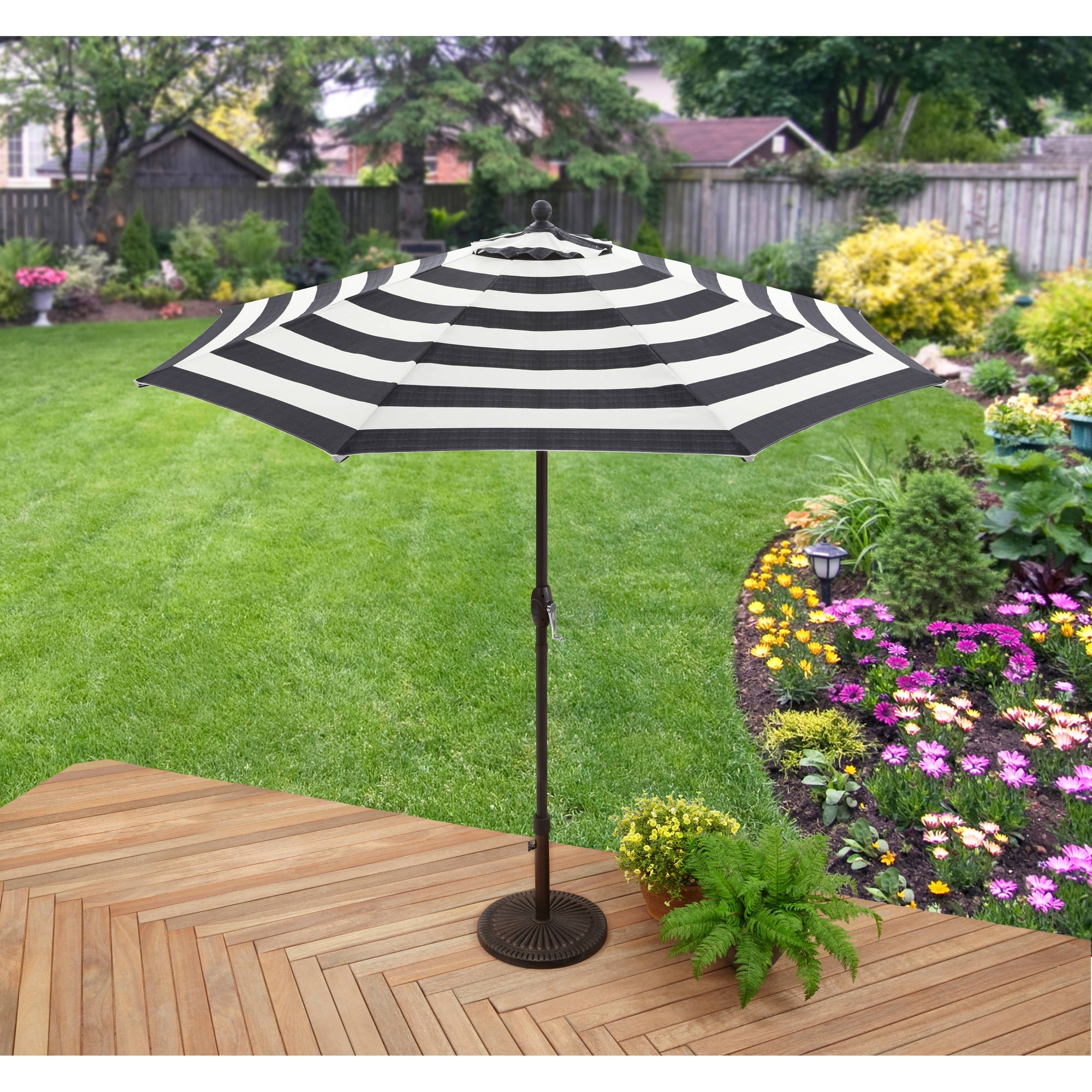 2019 Walmart Umbrellas Patio With Better Homes And Gardens 9' Market Umbrella, Cabana Stripe – Walmart (View 8 of 20)