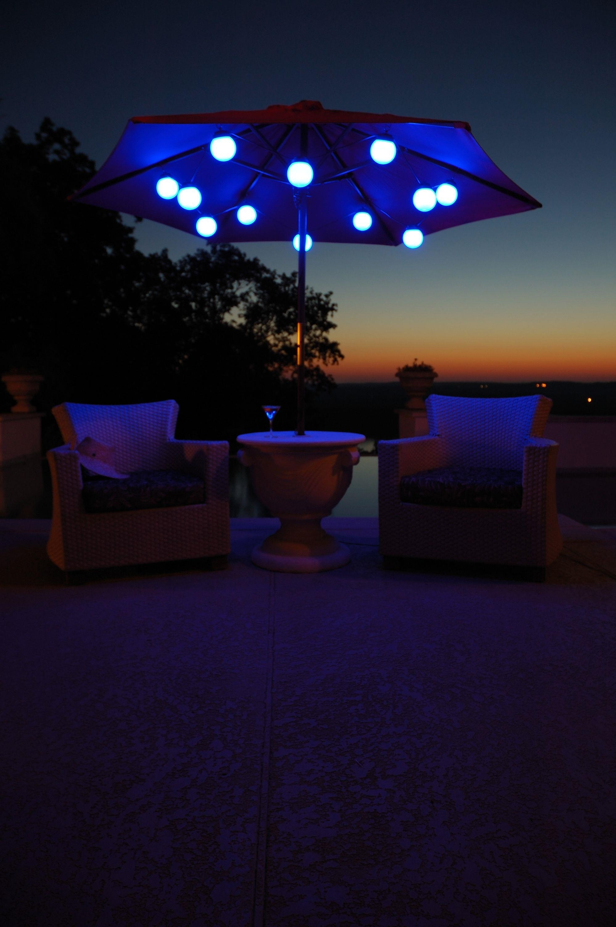 44 Patio Umbrella Light, 27 Ideas For Decorating Patio With Lighting Within Current Patio Umbrellas With Solar Led Lights (Gallery 13 of 20)