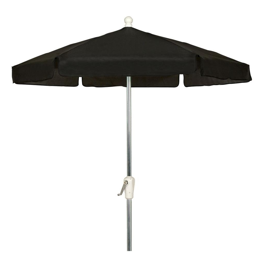 7.5 Ft. Hex Garden Patio Umbrella 6 Rib Crank Bright Aluminum In With Regard To Popular Black And White Patio Umbrellas (Gallery 12 of 20)