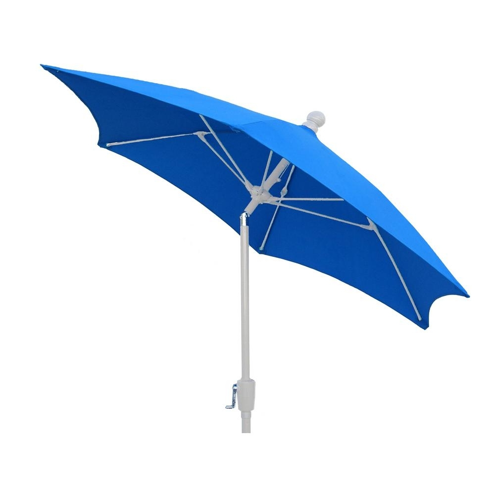 7.5 Ft. Terrace Patio Umbrella With White Pole Tilt In Pacific Blue Inside Trendy Patio Umbrellas With White Pole (Gallery 1 of 20)