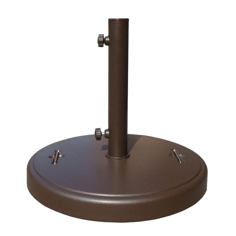 86 Lbs. Brown Patio Umbrella Base With Hidden Wheels Dwth37U B – The Within Most Recently Released Patio Umbrella Stands With Wheels (Gallery 1 of 20)