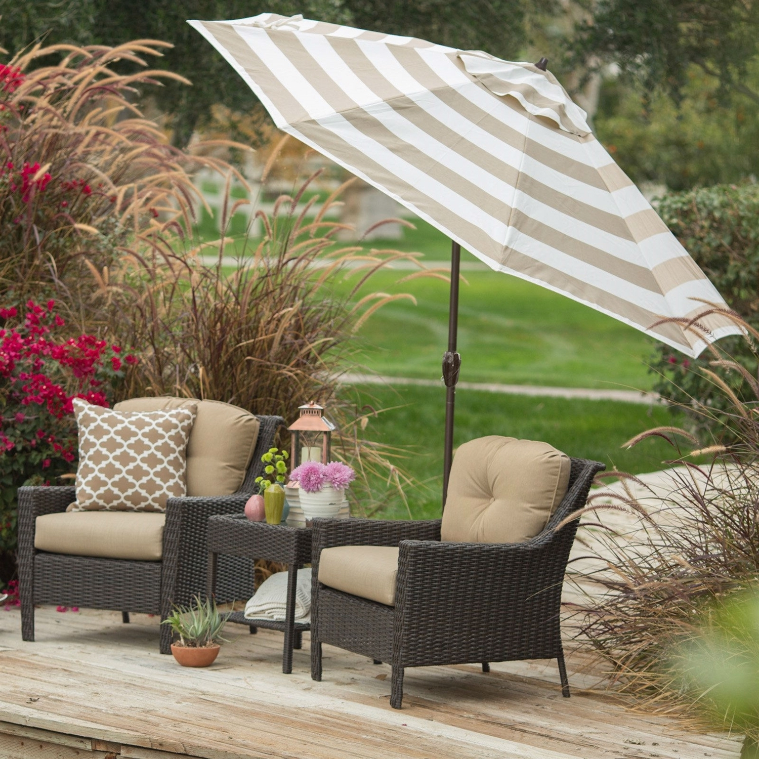 9 Ft Patio Umbrellas Intended For Most Recently Released 9 Ft Market Umbrella With Tilt And Crank With Beige And White Stripe (Gallery 18 of 20)