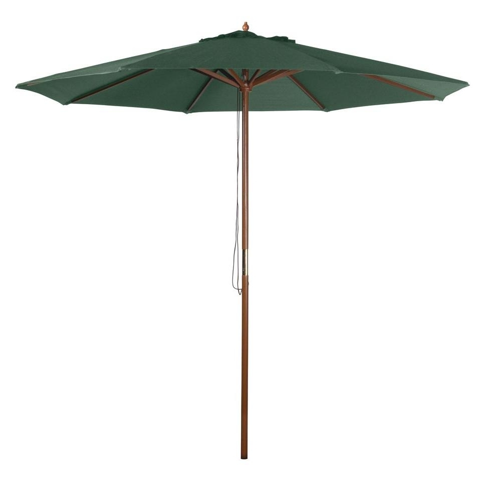 9 Ft Patio Umbrellas Throughout Most Current 9 Ft. Market Patio Umbrella In Green Y99153 – The Home Depot (Gallery 1 of 20)