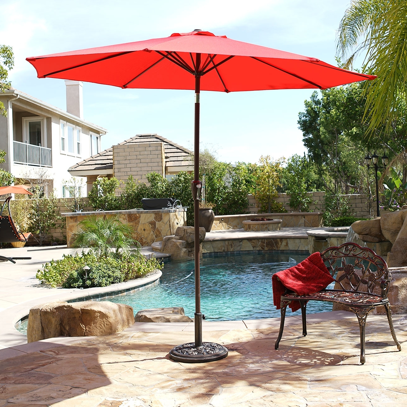 9' Ft Steel Outdoor Patio Umbrella Market Yard Beach W/ Crank Tilt 6 Throughout 2018 9 Ft Patio Umbrellas (View 9 of 20)