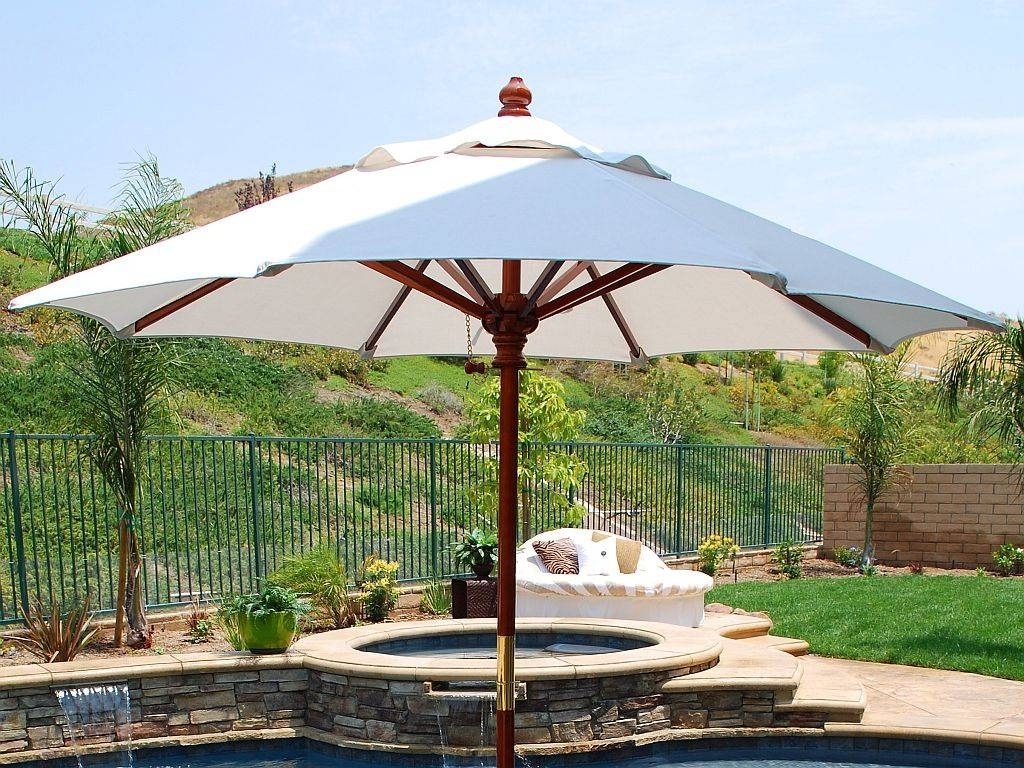 Art Deco Patio With Brown Lacquered Wooden Umbrella Handler, And With Well Known Patio Deck Umbrellas (View 13 of 20)