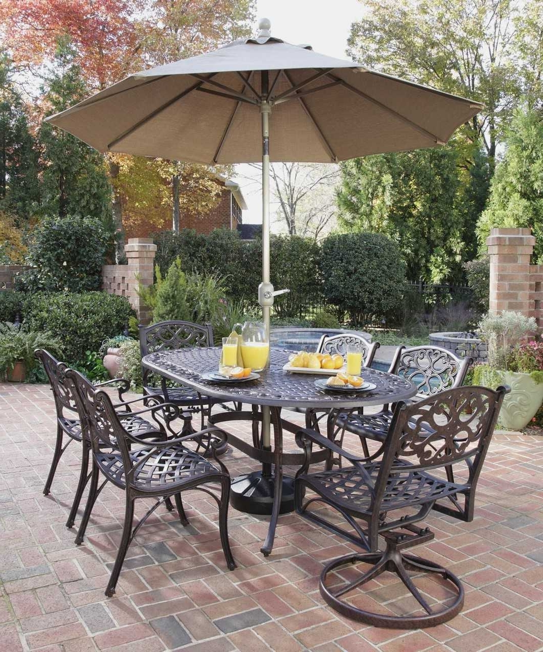 Best And Newest Fascinating Patio Table Sets With Umbrella Trends Including Cheap Inside Patio Table And Chairs With Umbrellas (View 2 of 20)
