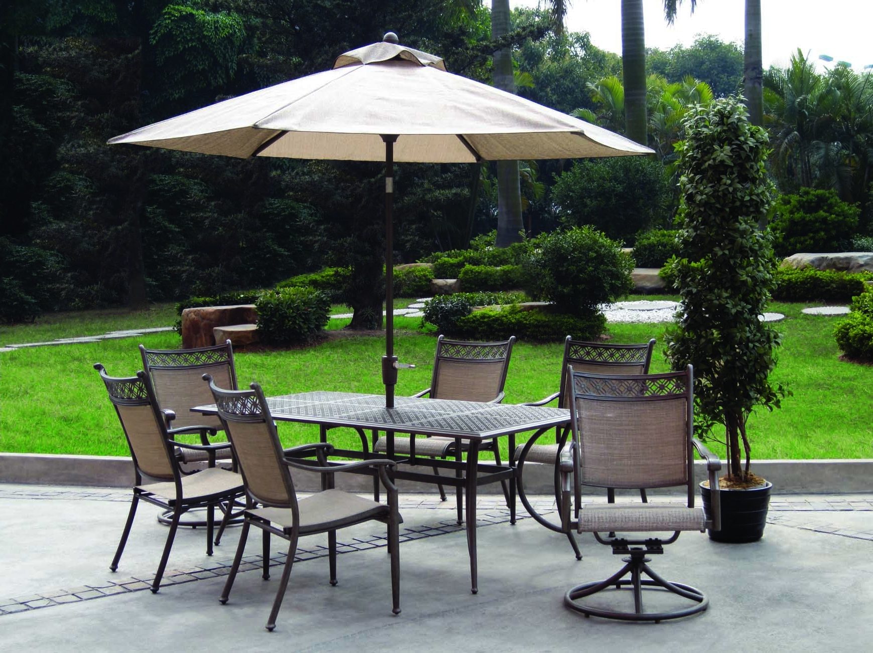 Best And Newest Patio Table And Chairs With Umbrellas Within Home Depot Outdoor Furniture Umbrellas With 2 Swivel Chair Pine (View 3 of 20)