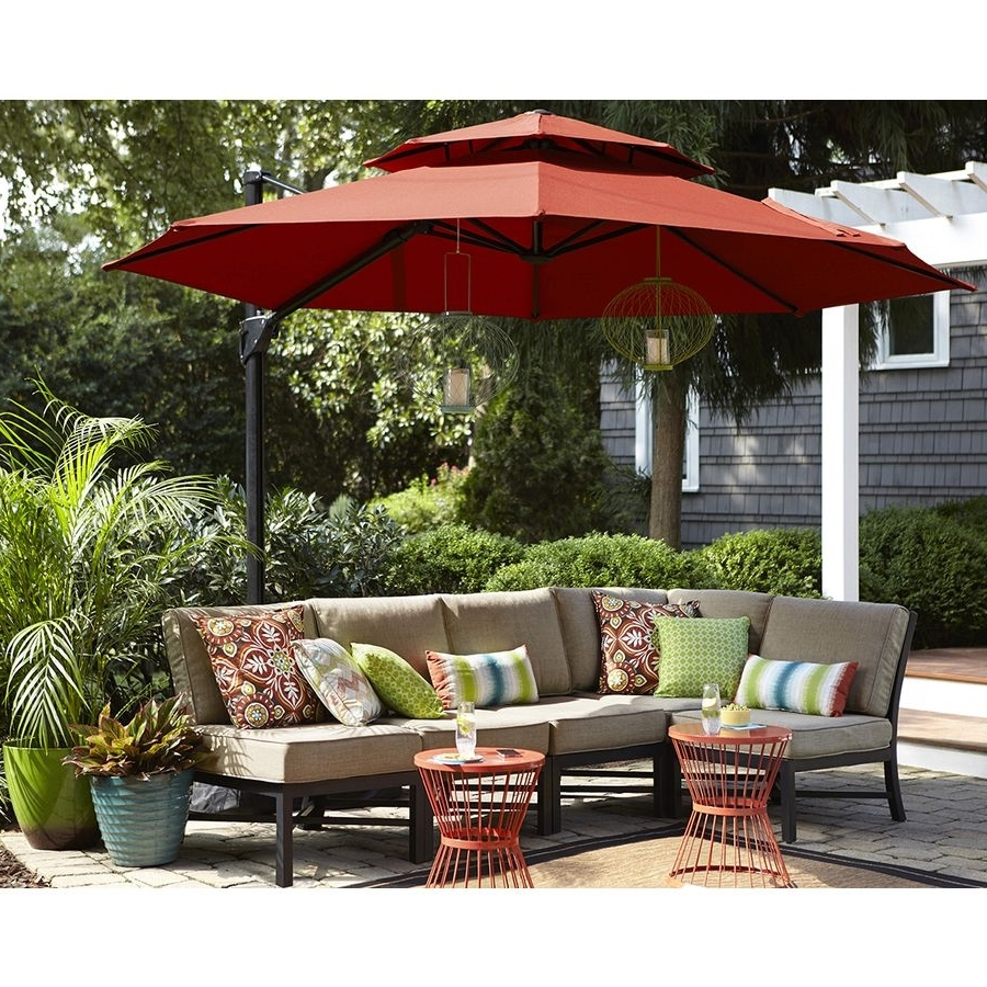Best And Newest Patio Umbrellas For High Wind Areas Within Shop Garden Treasures Red Offset Patio Umbrella (common: (View 12 of 20)