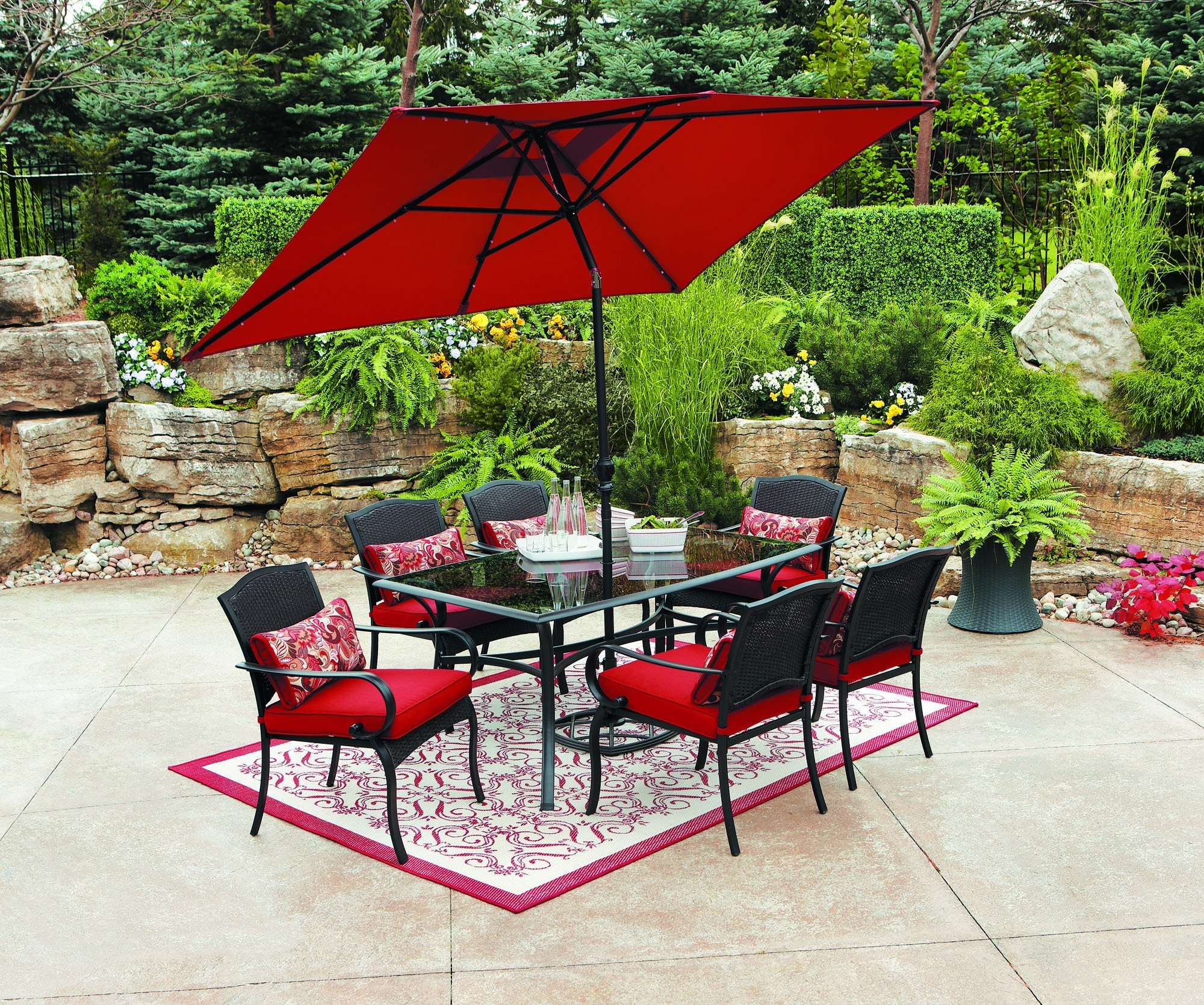 Best And Newest Red Outdoor Table Umbrellas – Outdoor Ideas Inside Red Patio Umbrellas (View 1 of 20)