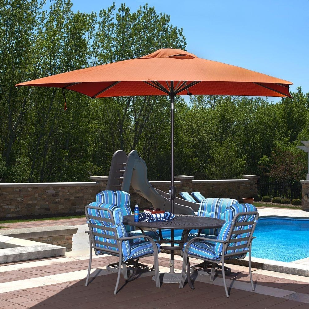 Best And Newest Sunbrella Black Patio Umbrellas Within Rectangle – Market Umbrellas – Patio Umbrellas – The Home Depot (View 4 of 20)