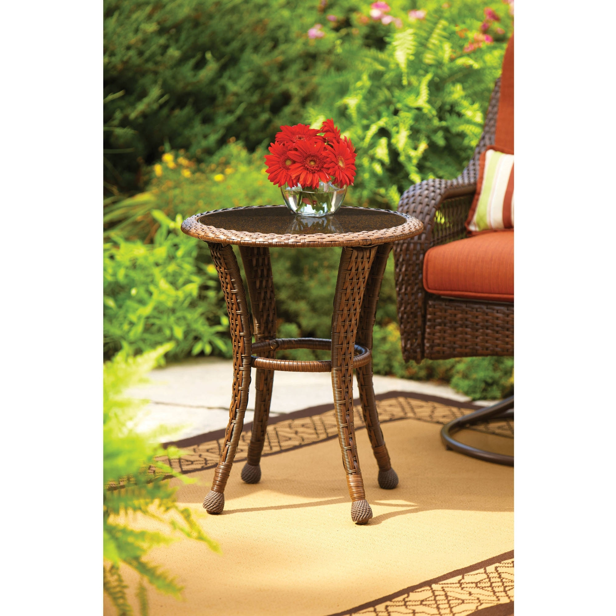 "Better Homes And Gardens Azalea Ridge 20"" Round Outdoor Side Table Regarding Widely Used Patio Umbrellas With Accent Table (View 2 of 20)"