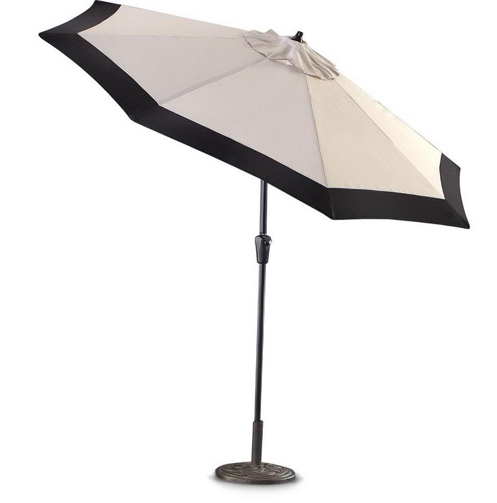 Black And White Patio Umbrellas Pertaining To 2018 45 Black And White Striped Patio Umbrella, Striped Umbrella Ebay (View 4 of 20)
