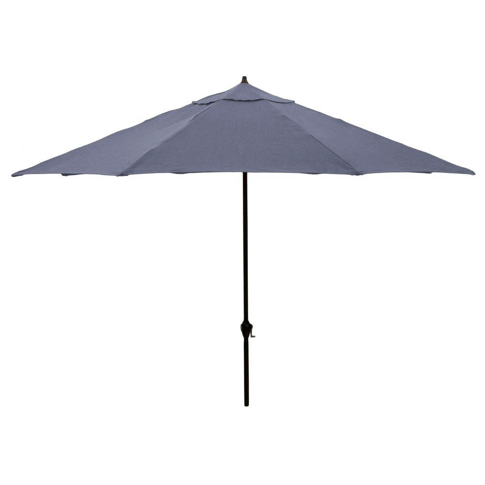 Blue Patio Umbrellas With Regard To Most Recently Released Hampton Bay 11 Ft (View 5 of 20)