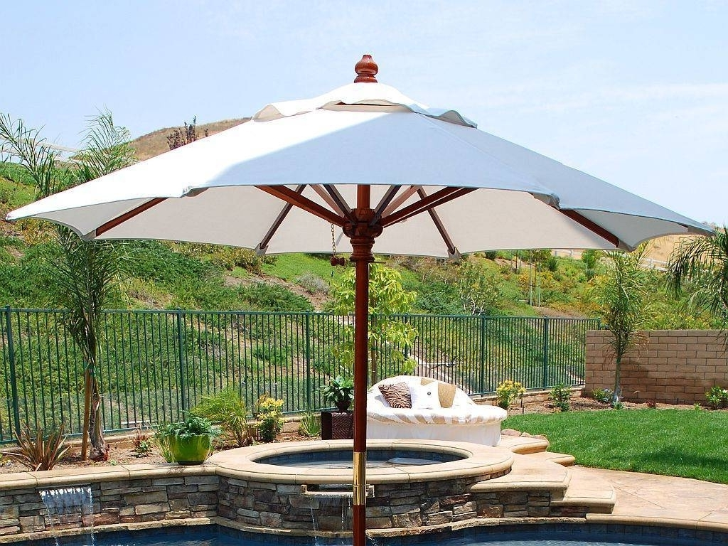 Cheap Patio Umbrellas Regarding Most Recently Released White Cheap Patio Umbrellas With Small Round Swimming Pool With (View 9 of 20)