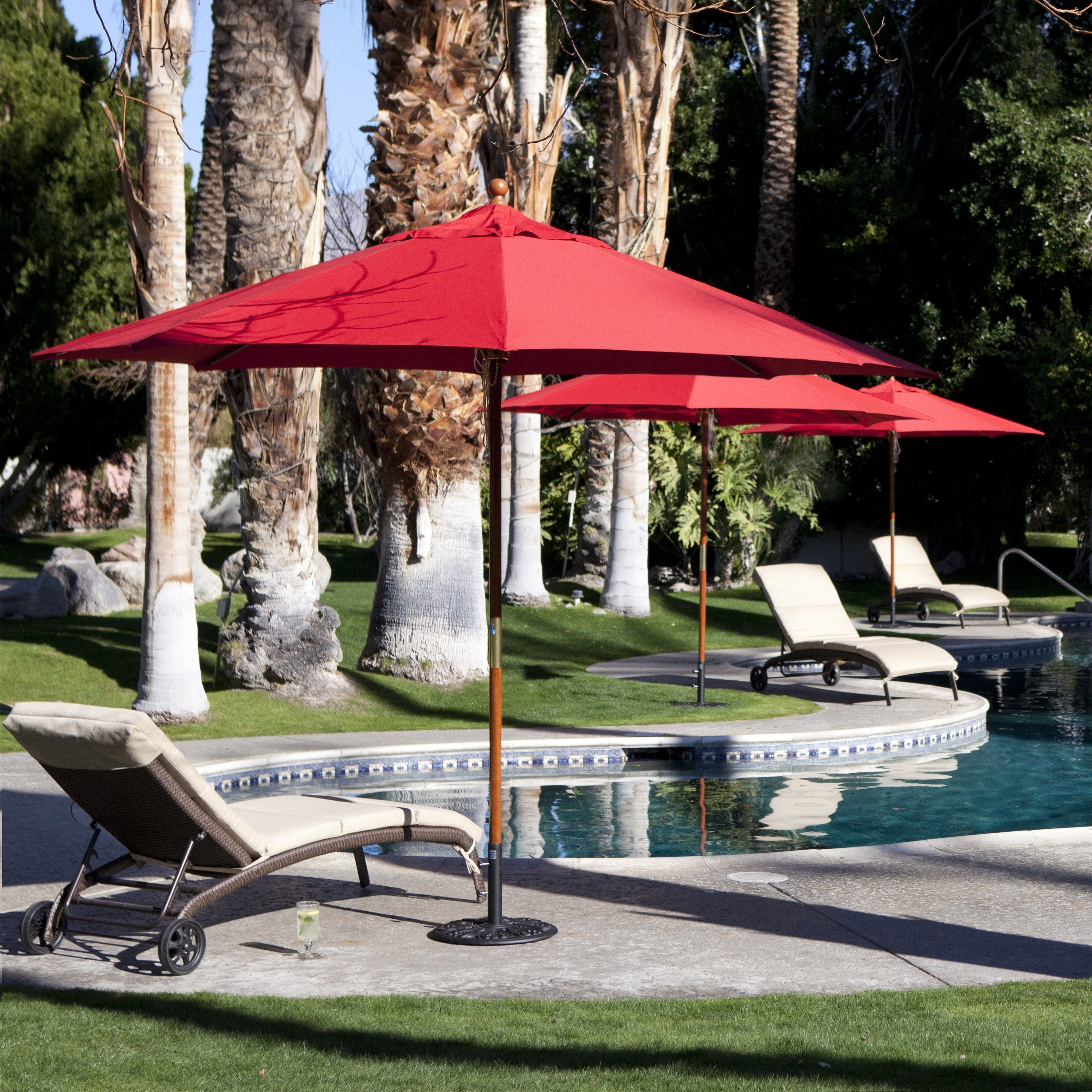 Coral Coast 11 Ft Mercial Wood Sunbrella Patio Umbrella Mercial Pati Intended For Most Up To Date Red Sunbrella Patio Umbrellas (View 4 of 20)