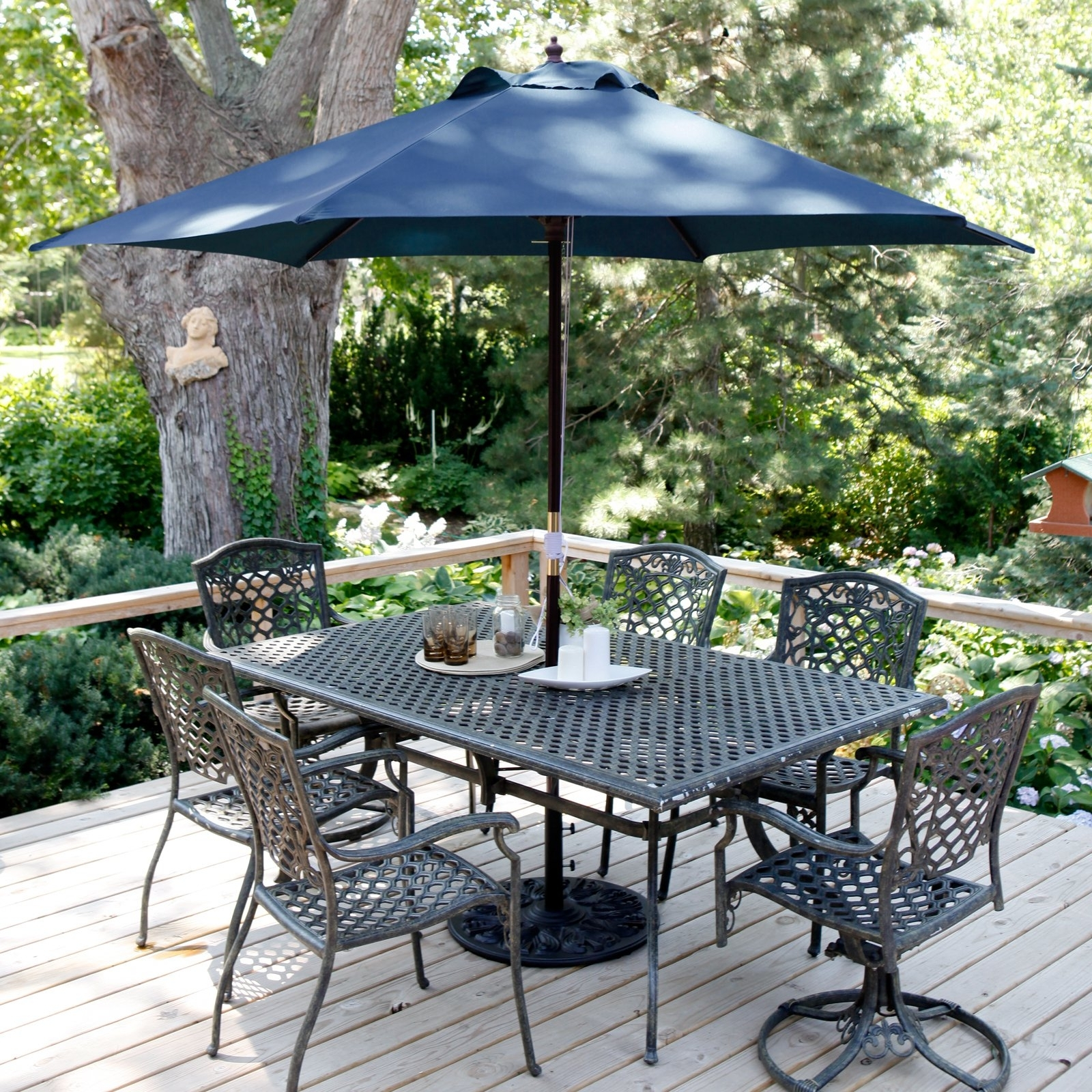 Coral Coast Key Largo 11 Ft. Wood Market Umbrella With Base Regarding Most Current 11 Ft Patio Umbrellas (Gallery 17 of 20)