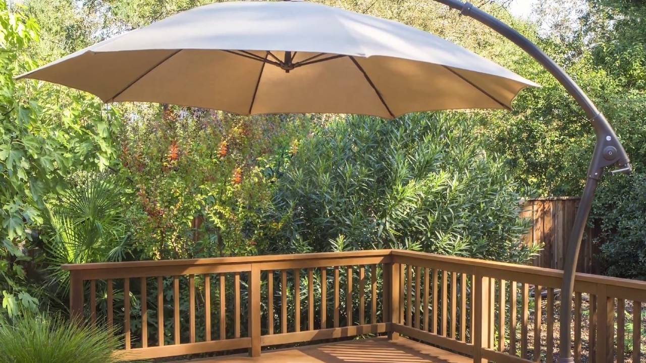 Costco Cantilever Patio Umbrellas Pertaining To Well Known Offset Patio Umbrella Costco Expensive Proshade 11ft Cantilever (View 16 of 20)