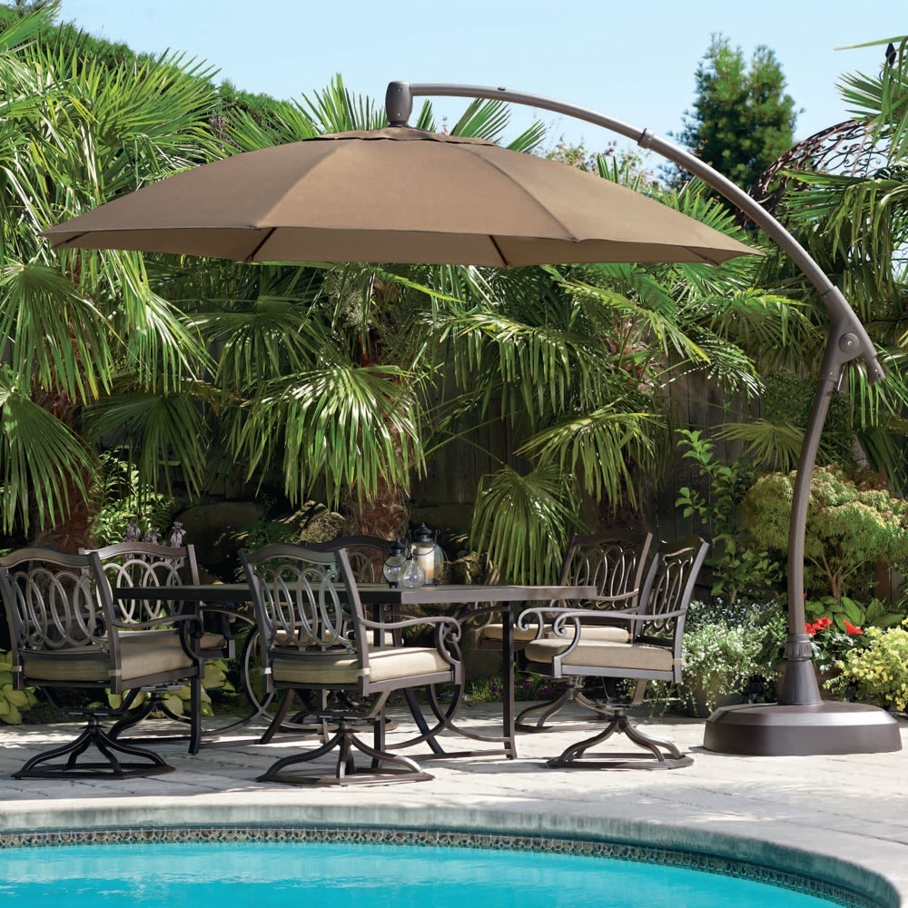 Costco Patio Umbrellas In Favorite Contemporary Tiled Umbrella With Oil Rubbed Bronze Round Costco (View 3 of 20)
