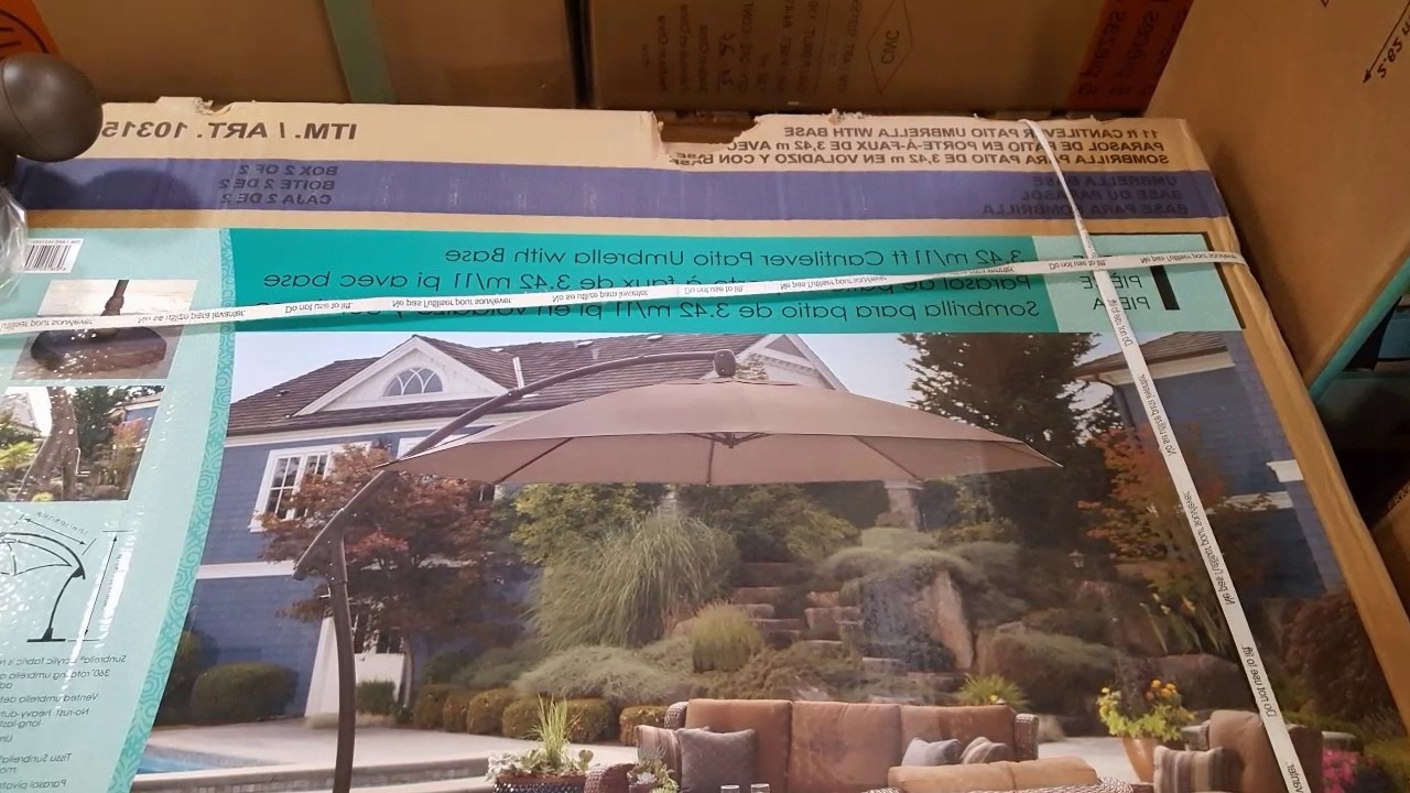 Costco! Proshade 11 Ft Parasol Cantilever Umbrella! $489! – Youtube Within Best And Newest Costco Cantilever Patio Umbrellas (View 11 of 20)