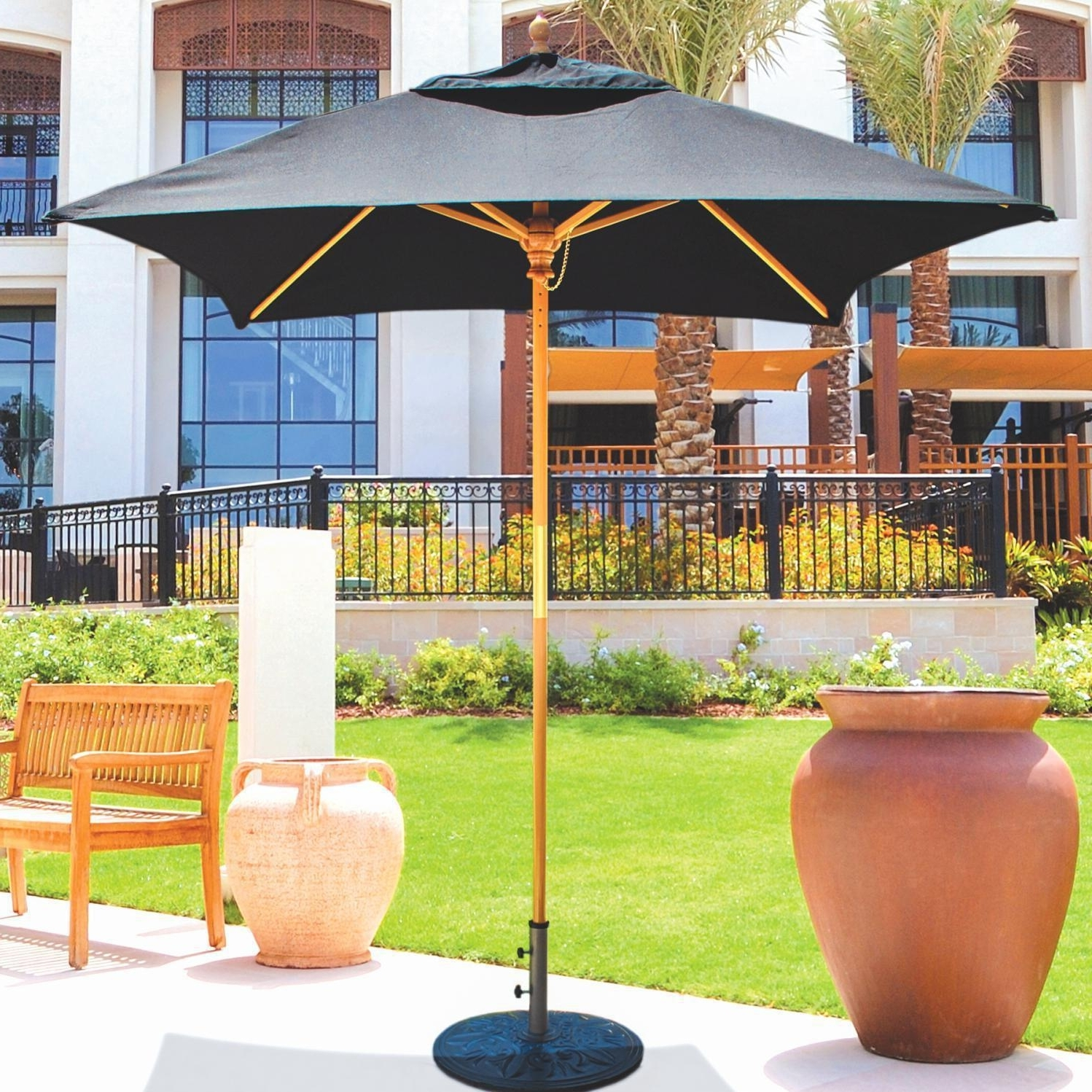 Current 6 Ft Patio Umbrellas Regarding Galtech 6 Ft Wood Square Patio Umbrella With Manual Lift – Light (View 8 of 20)