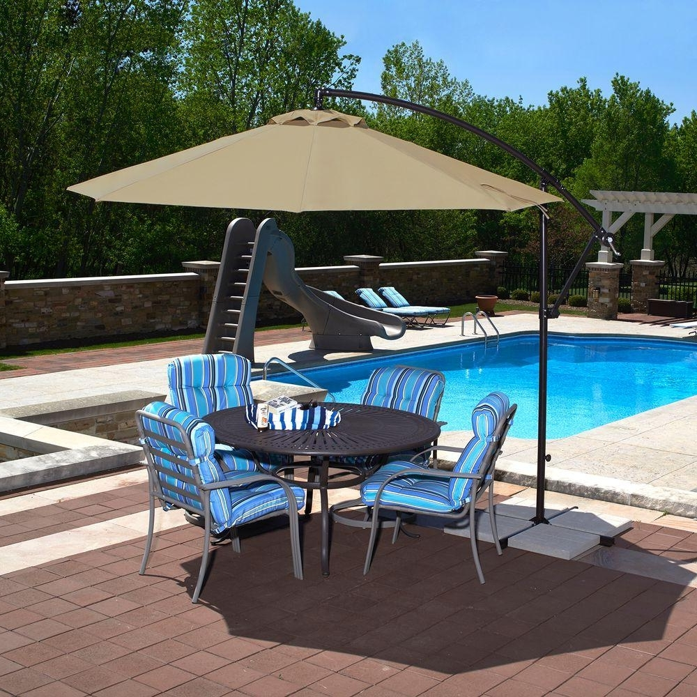 Current Hampton Bay Ft Led Offset Patio Umbrella In Sunbrella Henna For Home Throughout Hampton Bay Offset Patio Umbrellas (View 18 of 20)