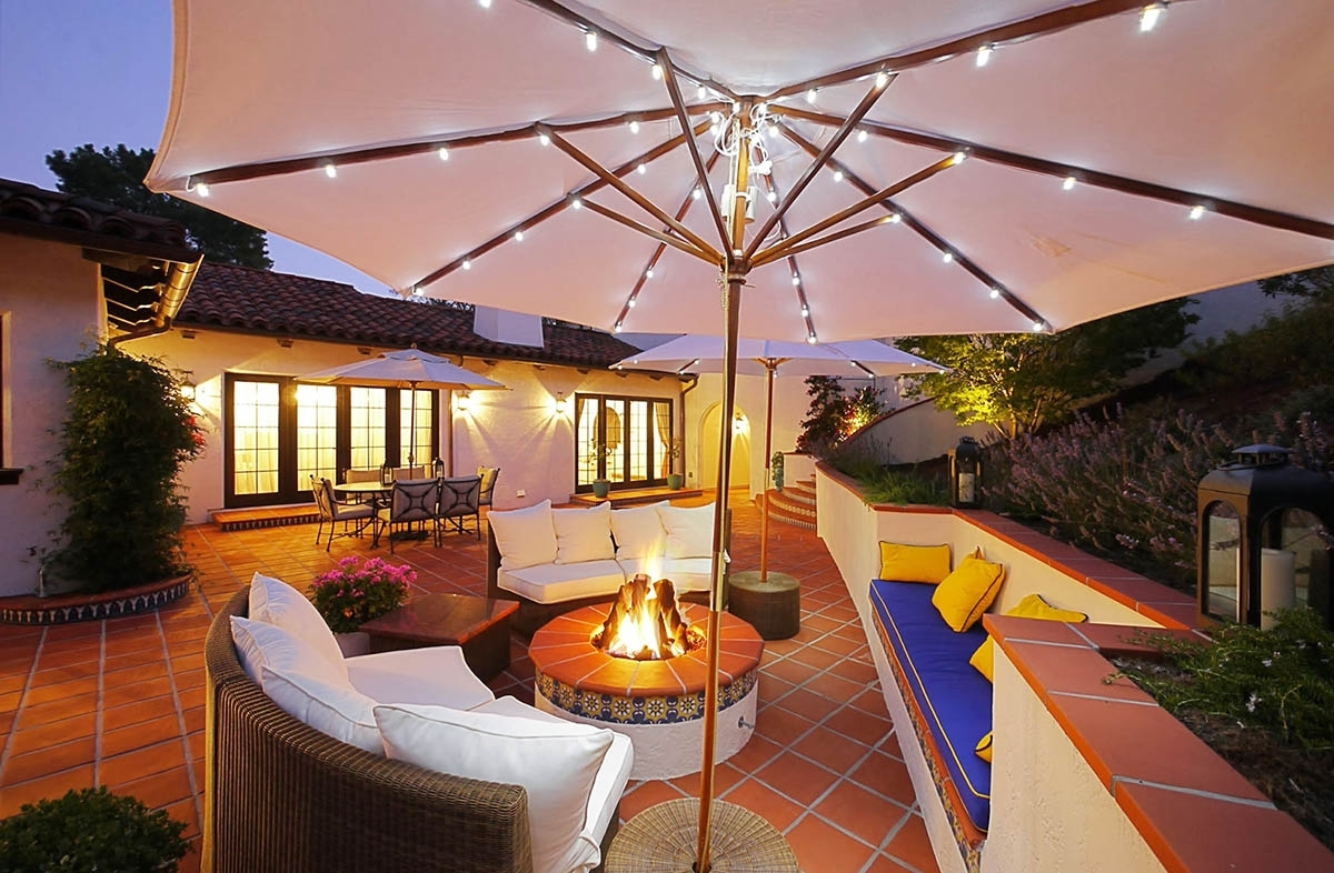 Current Led Outdoor Umbrella Lights Battery Operated — Life On The Move Throughout Patio Umbrellas With Solar Lights (View 14 of 20)
