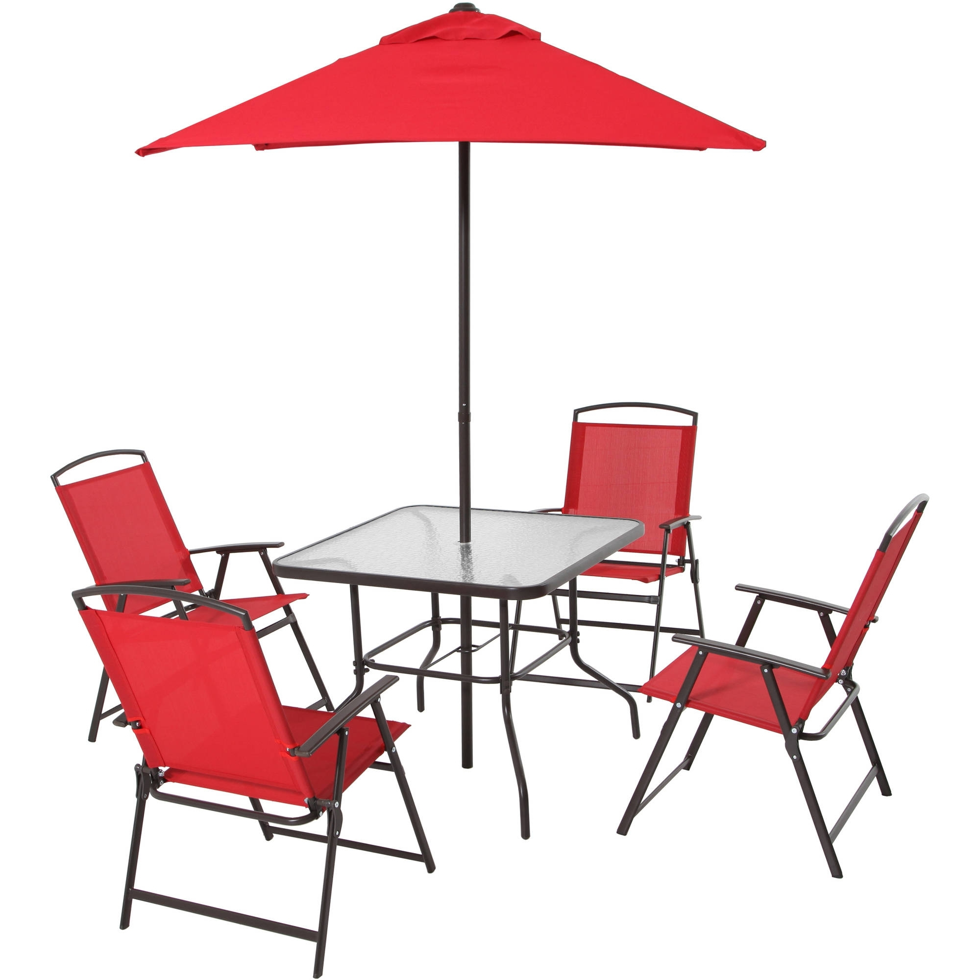 Current Patio Table Sets With Umbrellas Within Patio Dining Set Folding Chairs Outdoor Furniture Metal Frame (View 5 of 20)