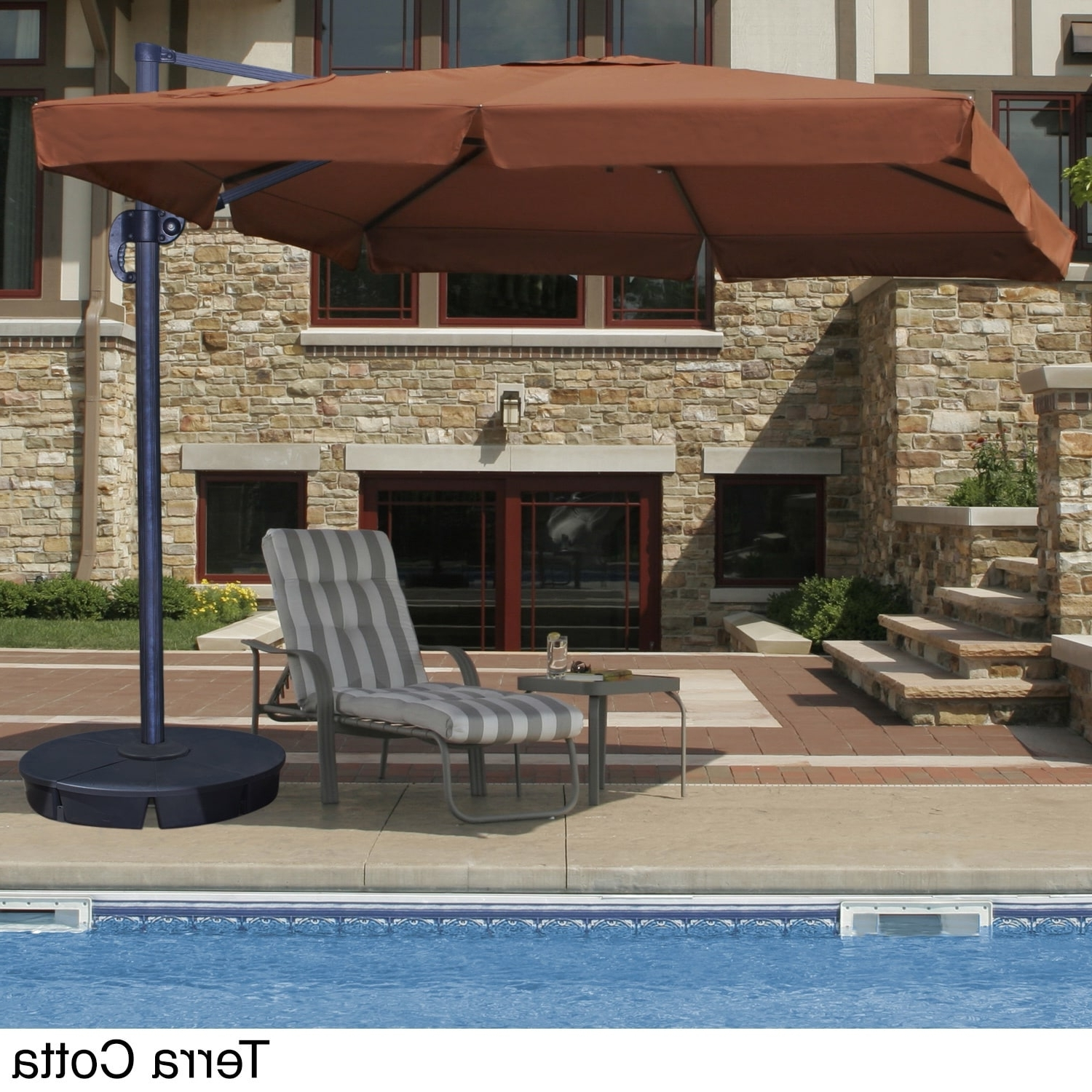 Current Shop Santorini Ii 10 Foot Square Cantilever Umbrella With Valance Throughout Patio Umbrellas With Valance (View 20 of 20)