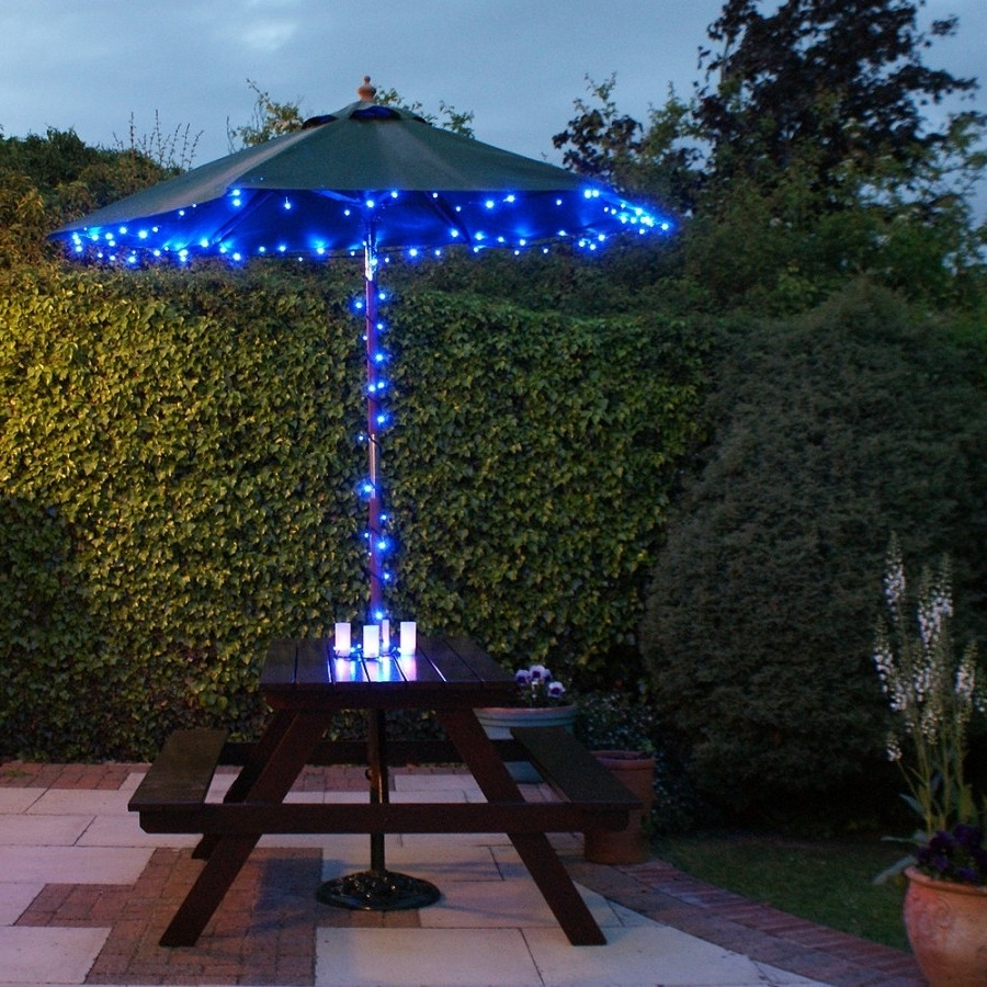 Current Solar Powered Patio Umbrellas Pertaining To Lighted Patio Umbrellas — Mistikcamping Home Design : Different (View 13 of 20)