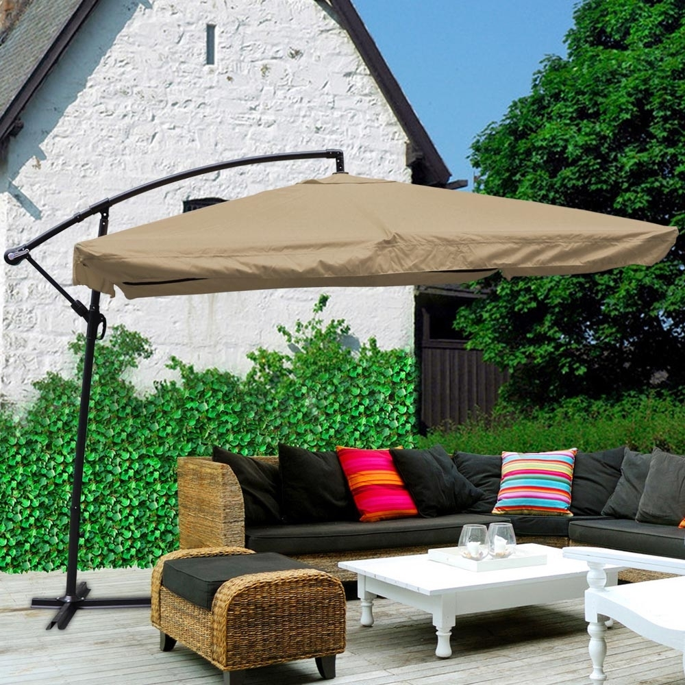 Current Square Patio Umbrellas For 9X9' Deluxe Square Patio Offset Hanging Umbrella Gazebo Outdoor (View 2 of 20)