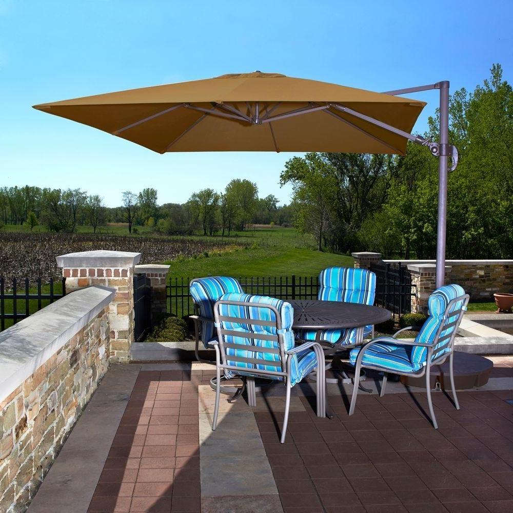 Custom Sunbrella Patio Umbrellas Throughout Widely Used Brown – Cantilever Umbrellas – Patio Umbrellas – The Home Depot (View 7 of 20)