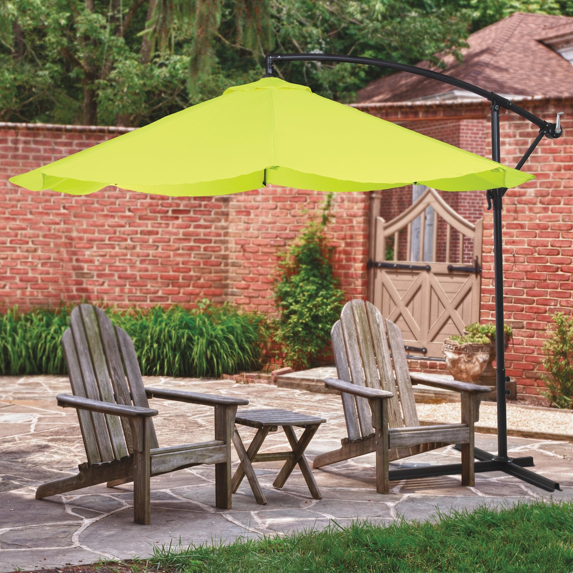 Deluxe Patio Umbrellas Within Well Known 10Ft. Adjustable Offset Hanging Patio Umbrella — Lime Green (Gallery 20 of 20)