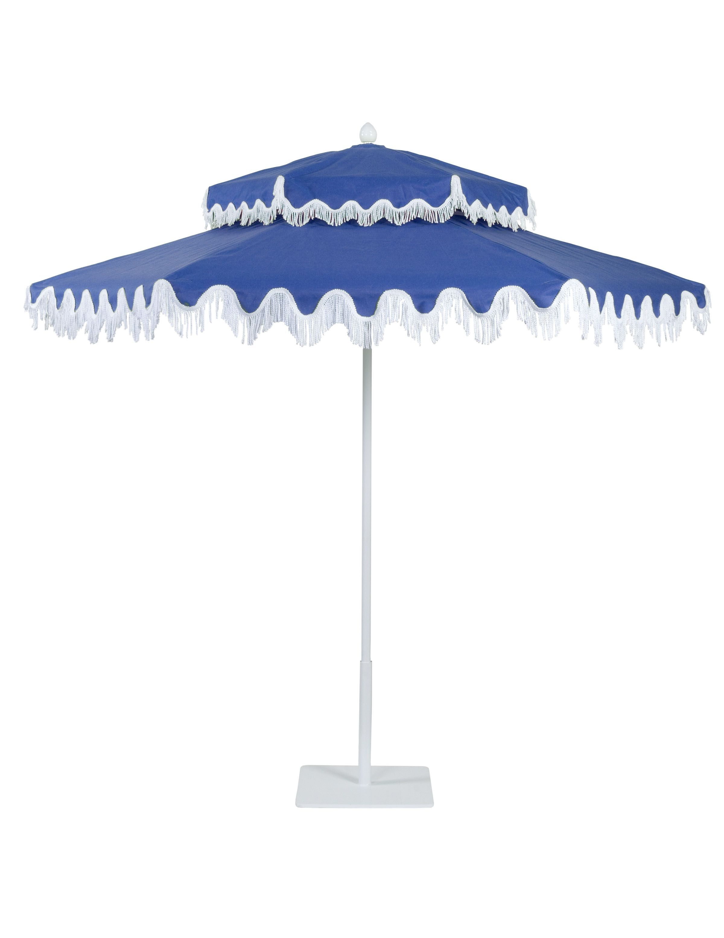 Double Decker Aluminum Umbrella With White Frame In Anchor Blue Pertaining To Latest Patio Umbrellas With Fringe (View 4 of 20)