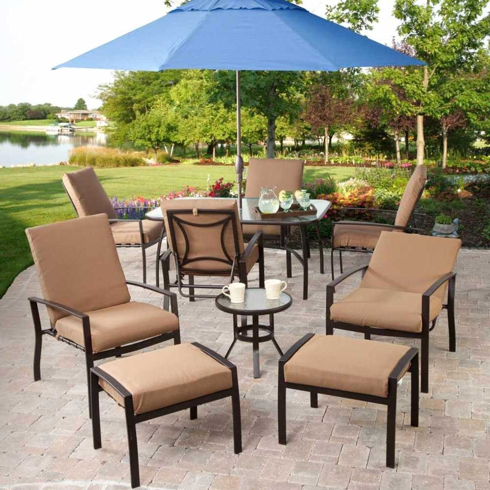 Elegant Small Patio With Blue Long Umbrella, And Brown Lacquered In 2018 Patio Umbrellas For Small Spaces (View 2 of 20)