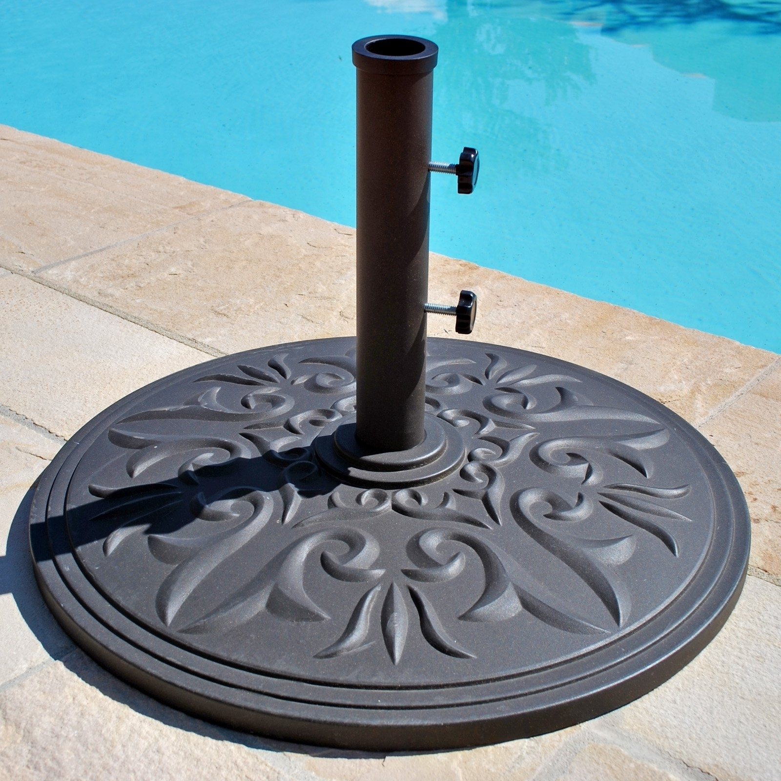 European Patio Umbrellas For 2018 Patio Umbrella Stand A Little More Decorative — The Home Redesign (Gallery 14 of 20)