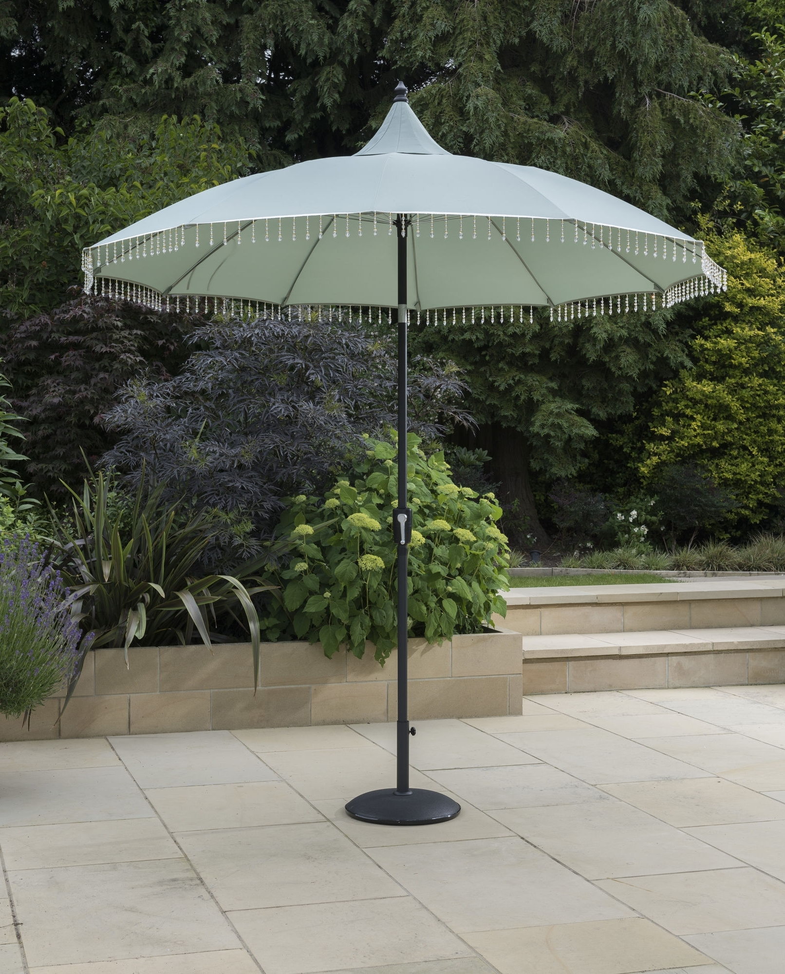Exotic Fringed Garden Parasol 2.7M Dia Green – Avant Garden Uk With Well Known Exotic Patio Umbrellas (Gallery 6 of 20)