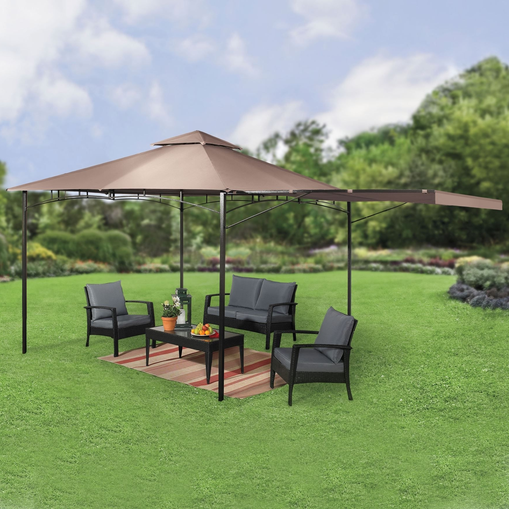 Extended Patio Umbrellas With Regard To Recent Find Out Full Gallery Of 13 Plus Patio Umbrella Gazebo – Displaying (View 14 of 20)