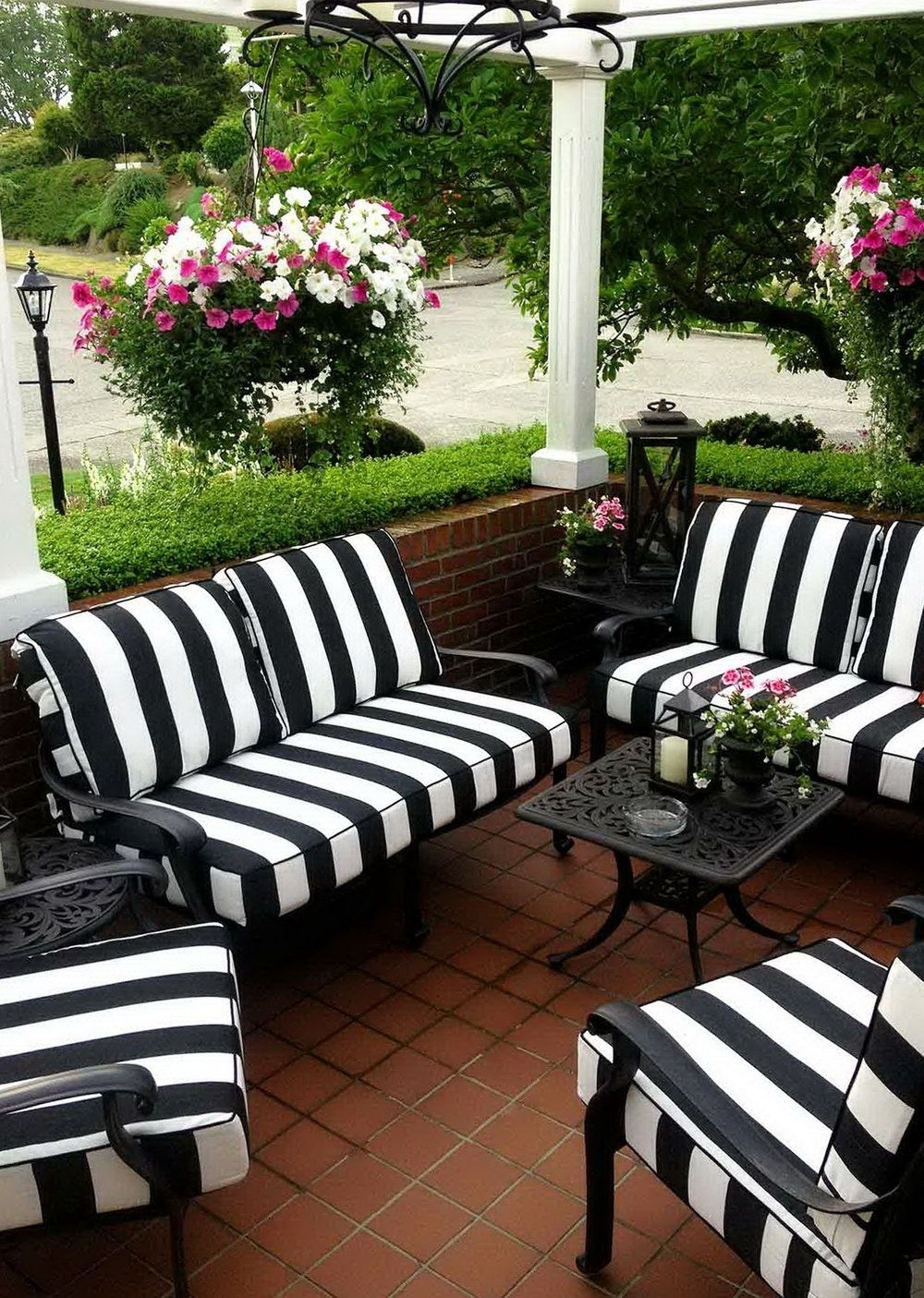 Famous Black And White Striped Patio Cushions (View 9 of 20)