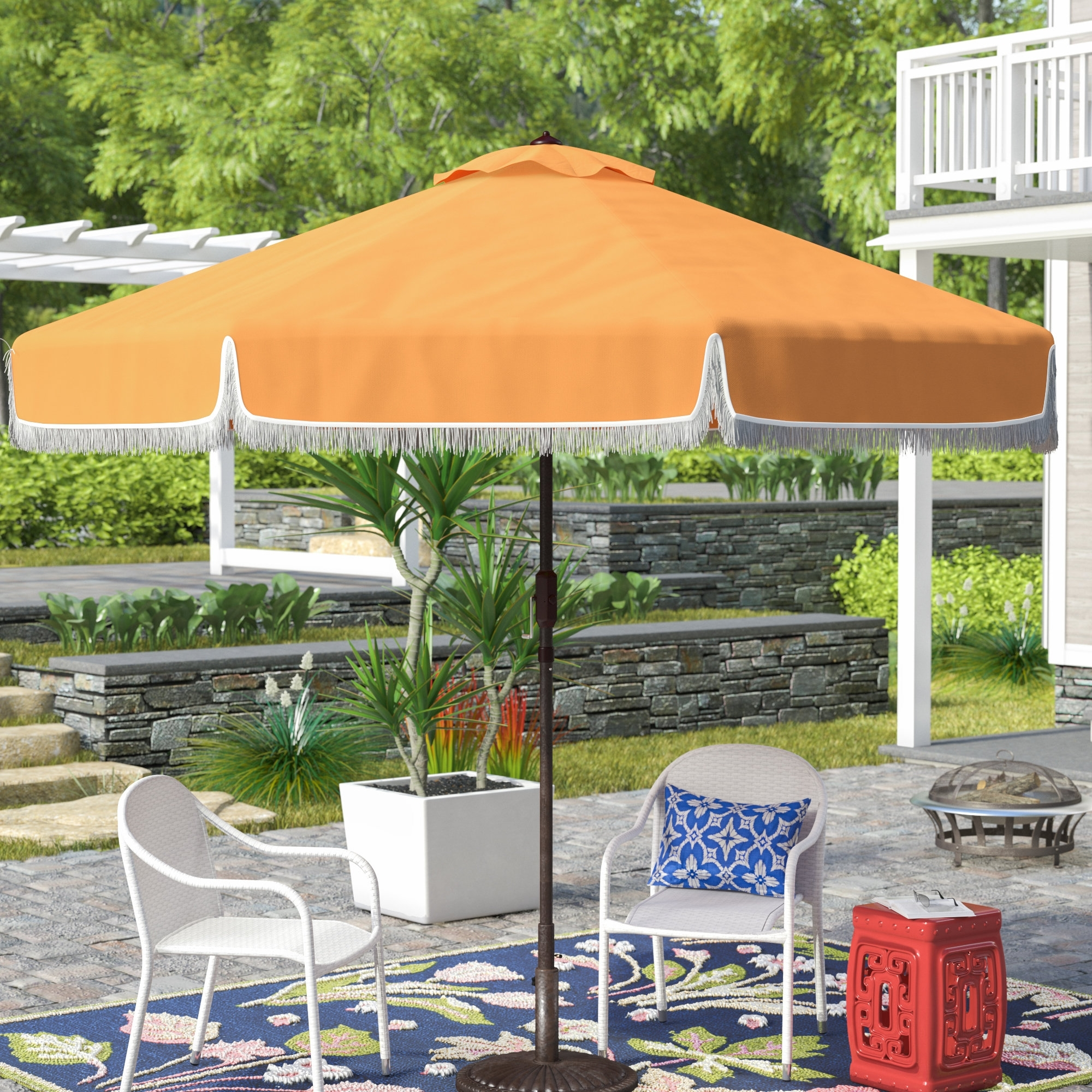 Famous Drape Patio Umbrellas With Regard To Bloomsbury Market Greenberry  (View 10 of 20)
