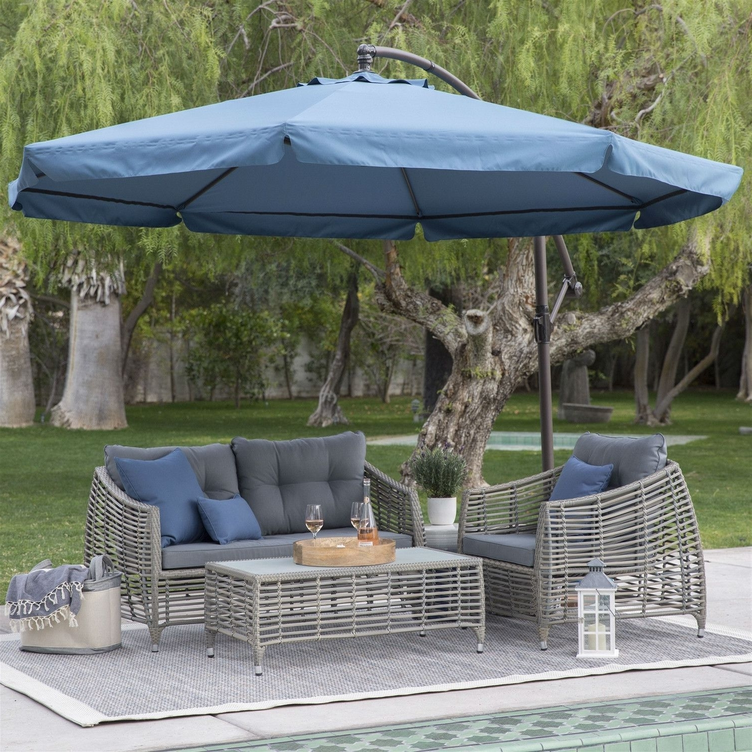 Famous Navy Blue 11 Ft Offset Steel Patio Umbrella Gazebo Canopy With For Patio Umbrellas With Netting (View 4 of 20)